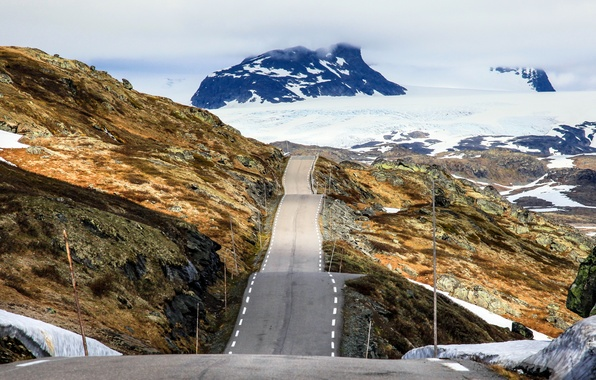 Picture Mountains, Norway, Ice, Road, Peaks