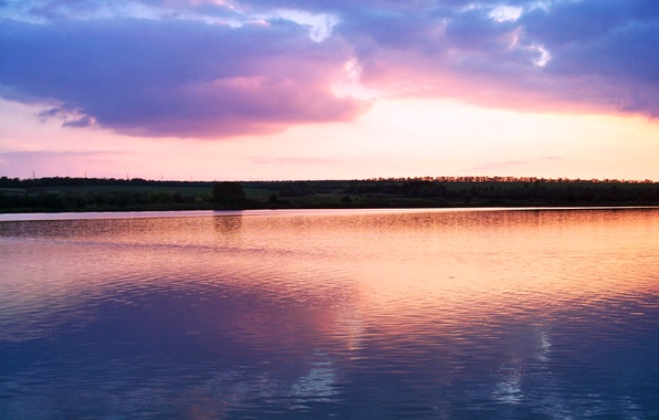 Photo Wallpaper Water Light Sunset Lake River Pink Horizon