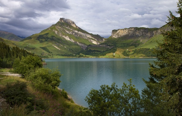 Picture mountains, lake, France, Alps, France, Alps, Savoie, lake Roselend, Roselend Lake, Savoie