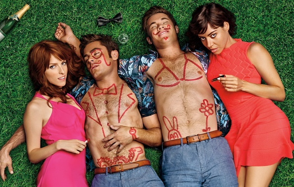 Picture girls, bottle, lipstick, drawings, guys, party, champagne, on the grass, lie, Zac Efron, Comedy, body …