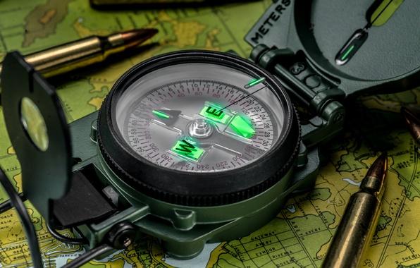 Picture macro, map, arrow, bullets, cartridges, compass
