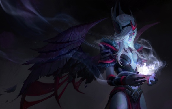 Picture girl, wings, crown, art, Dota 2, Vengeful Spirit, Shendelzare