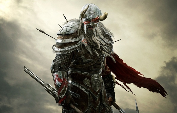 Picture the sky, look, clouds, warrior, horns, helmet, armor, beard, arrows, Bethesda Softworks, ZeniMax Online Studios, …