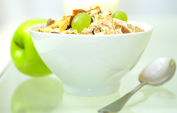 Picture Apple, food, plate, grapes, spoon, white background, fruit, sweet, cereal, a light Breakfast, raisins, muesli