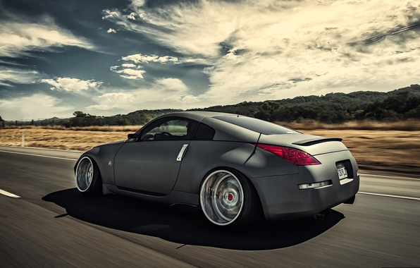 Picture road, grey, speed, Nissan, 350z, Nissan, stance, in motion