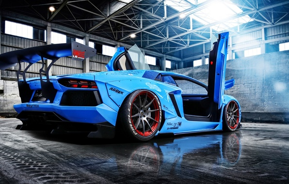 Picture Lamborghini, Blue, Sun, Aventador, Supercar, LP720-4, Rear, Liberty, Doors, Walk, Beam, LB Perfomance