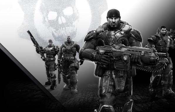 Picture weapons, skull, team, Lancer, armor, saw, friends, gear, rifle, bandana, Microsoft Game Studios, Epic Games, …