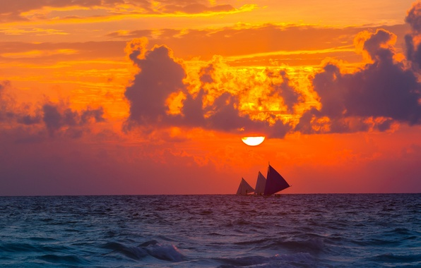 Picture sea, the sky, the sun, clouds, sunset, clouds, nature, mood, sailboat, the evening, sailboats