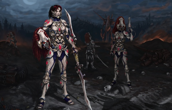 Picture night, the moon, figure, skull, armor, captain, shadows, moon, red hair, warhammer, corpses, red hair, …