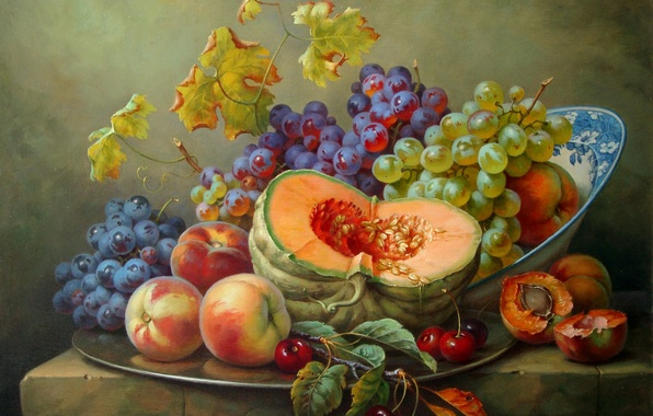 Picture cherry, grapes, pumpkin, still life, painting, peaches, Gabor Toth