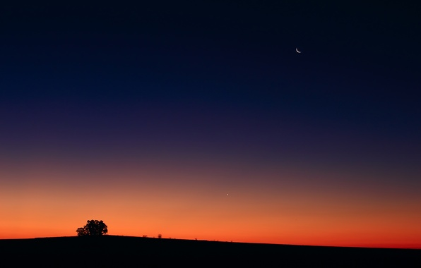 Picture sunset, The moon, Venus