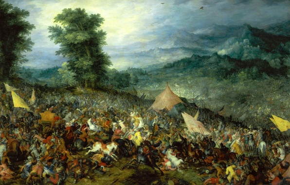 Picture picture, Jan Brueghel the elder, battle genre, The battle of Issus