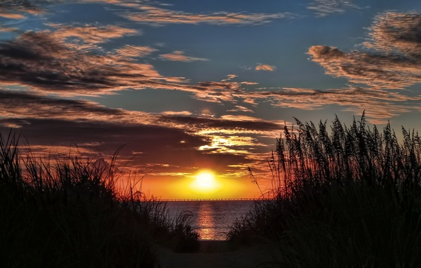 Picture the sky, the sun, clouds, sunset, orange, bridge, river, The evening, away