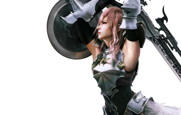 Picture girl, sword, white background, shield, Final Fantasy, Lightning, XIII