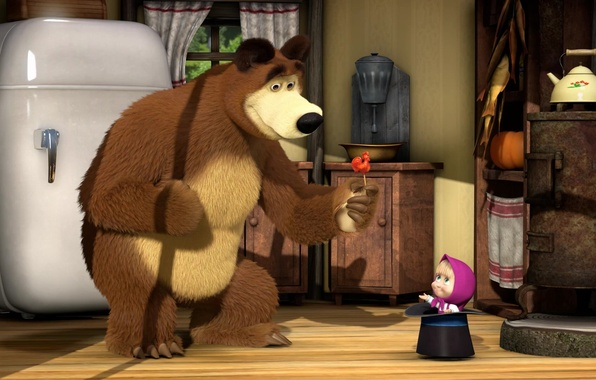Picture room, refrigerator, Lollipop, cartoon, cylinder, Masha and the bear