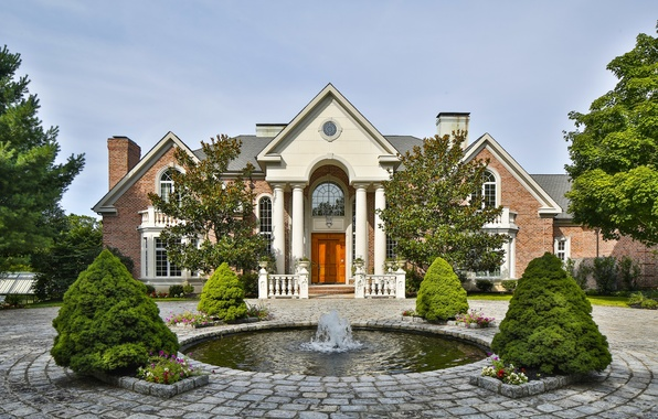 Picture house, columns, fountain, architecture, mansion