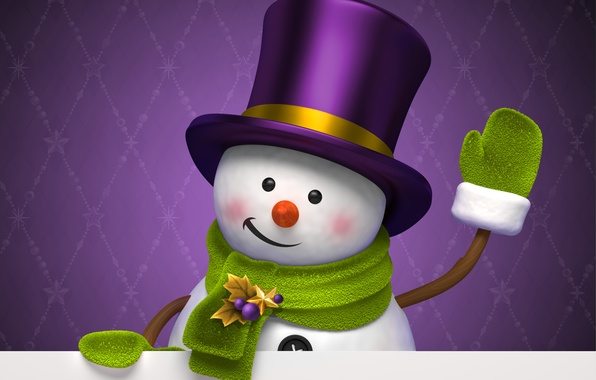 Picture winter, purple, holiday, graphics, new year, Christmas, hat, snowman, christmas, new year, cylinder