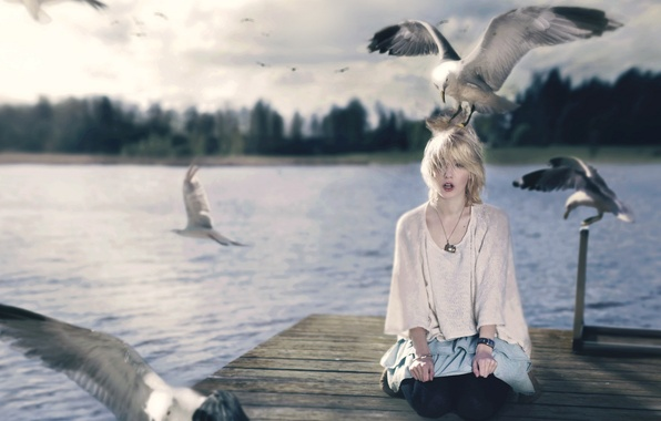 Picture girl, birds, style, the situation