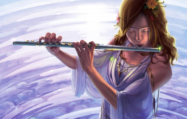 Picture water, girl, decoration, flowers, dress, art, musical instrument, reishin