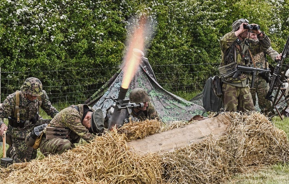 Picture fire, flame, soldiers, the Germans, observation, military reconstruction, mortar