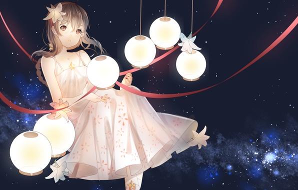 Picture girl, stars, tape, anime, art, vocaloid, lanterns, yuezheng ling, vocaloid china, weitu