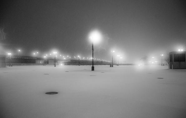 Picture snow, b/W, lights