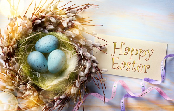 Picture branches, tape, holiday, eggs, feathers, Easter, socket, Verba, card, Easter, eggs