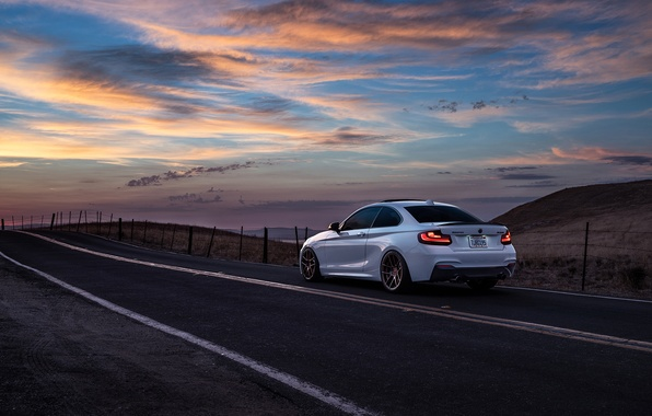 Picture BMW, Car, Sunset, Sunrise, Mountains, Wheels, Before, Rear, M235i, Garde, San Jose