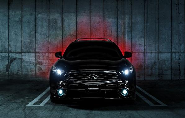 Picture Infiniti, Parking, black, infiniti, front, Vossen, FX 35 S