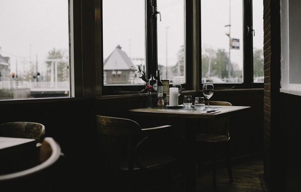 Picture windows, glass, wine, fork, knife, candle, restaurant, wine glass