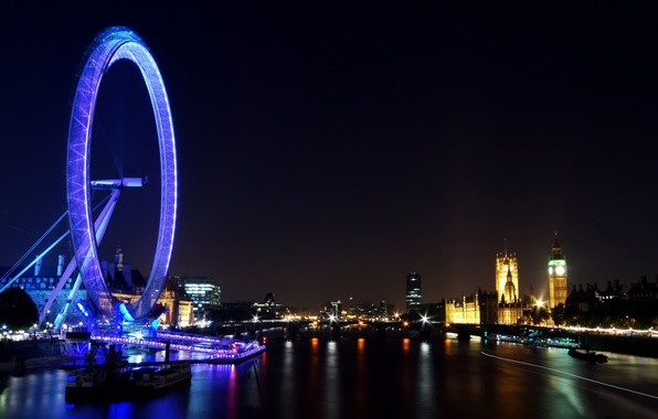 Picture night, the city, lights, river, Wallpaper, view, building, England, London, panorama, Ferris wheel, london, Thames, ...