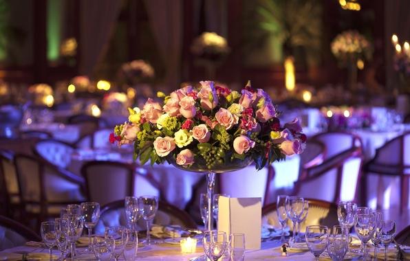 Picture flowers, roses, bouquet, glasses, restaurant, table, hydrangeas