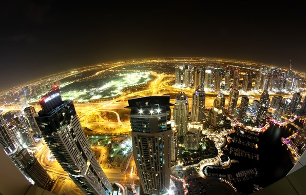 Picture night, the city, lights, view, building, road, home, skyscrapers, lighting, panorama, Dubai, Dubai, skyscrapers, UAE, ...