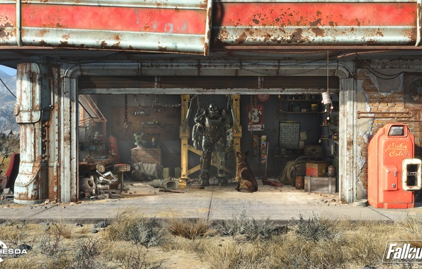 Picture robot, dressing, dog, garage, hangar, costume, Parking, fallout, Heath, power armor, radiation, fallout 4, the …