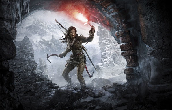 Picture Girl, Mountains, Snow, Bow, Lara Croft, Art, Lara Croft, Torch, Rise of the: Tomb Raider, …