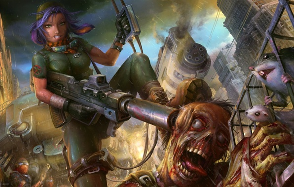 Picture girl, the city, weapons, rain, monster, cell, zombies, rats, machine gun