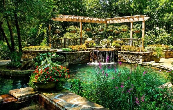Wallpaper water trees flowers pond park usa beds for Garden pond design software free download