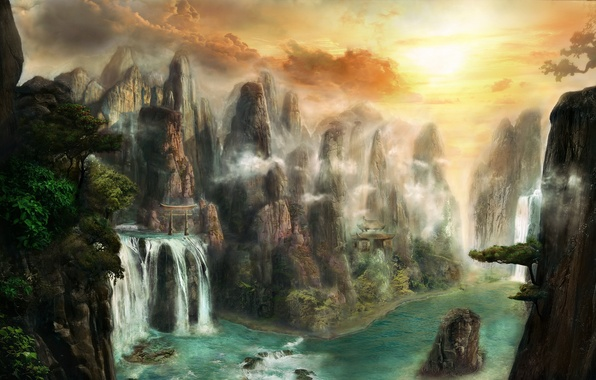 Picture water, trees, landscape, mountains, river, stones, rocks, waterfall, art, temple, fantasy world, the gates, Max ...