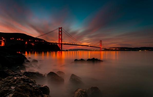 Picture light, sunset, bridge, the city, Strait, stones, the evening, CA, San Francisco, Golden Gate, USA, …