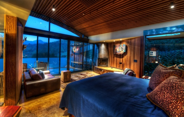 Picture house, Windows, bed, wood, fireplace, bedroom, sofa., desigen