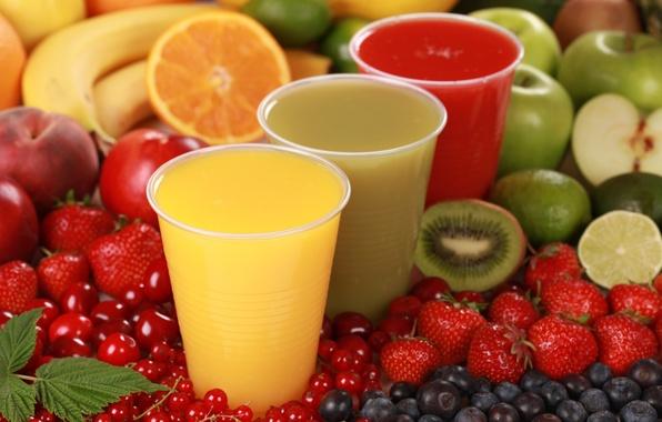 Picture berries, Apple, orange, kiwi, strawberry, fruit, juices