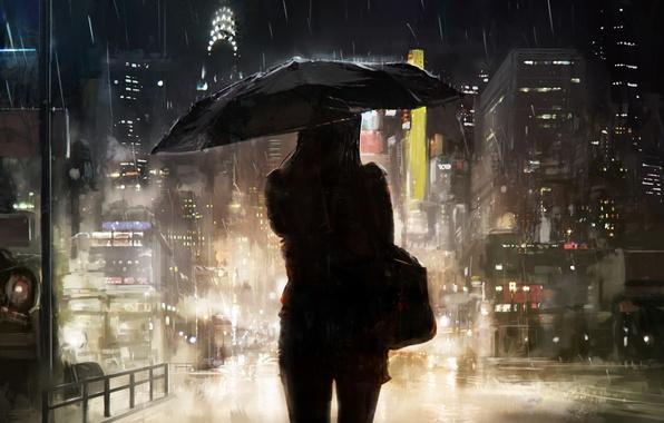 Photo Wallpaper Girl The City Umbrella Rain Silhouette Art