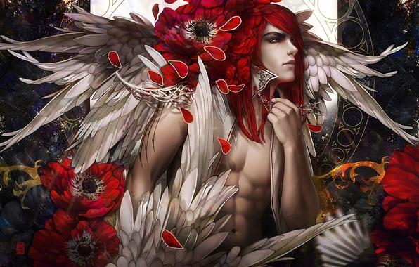 Picture flowers, Maki, wings, art, guy, red hair, tincek-marincek