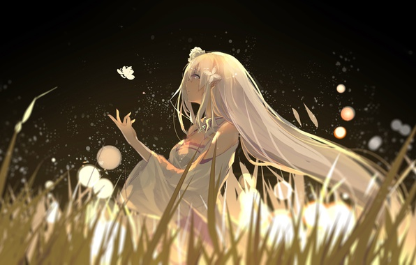 Picture grass, girl, butterfly, nature, anime, art, emilia, re:zero kara hajime chip isek or seikatsu, hzw3
