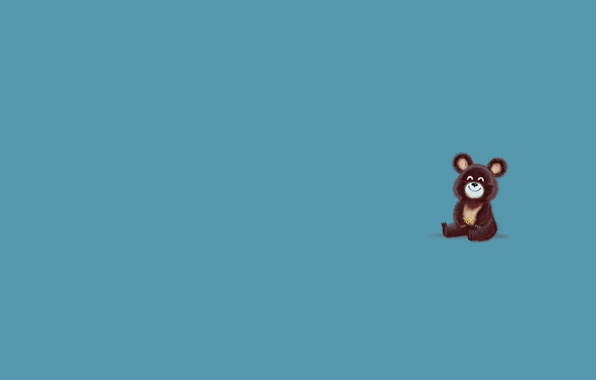 Picture animal, minimalism, bear, bear, blue background, Olympics 1980