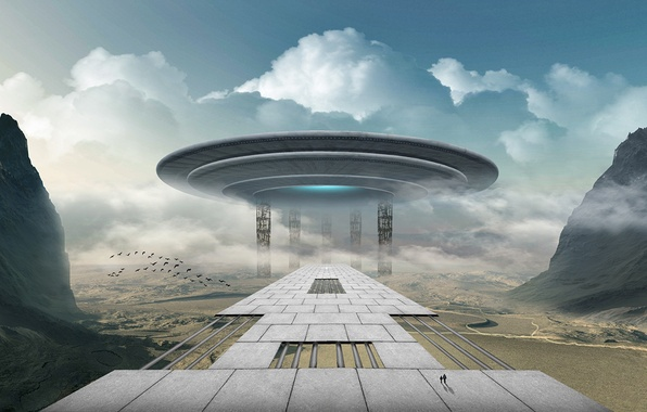 Picture road, landscape, people, fiction, spaceship, spaceship