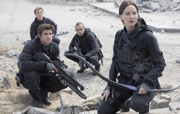 Picture weapons, bow, equipment, Jennifer Lawrence, Jennifer Lawrence, Liam Hemsworth, Liam Hemsworth, The Hunger Games: Mockingjay …