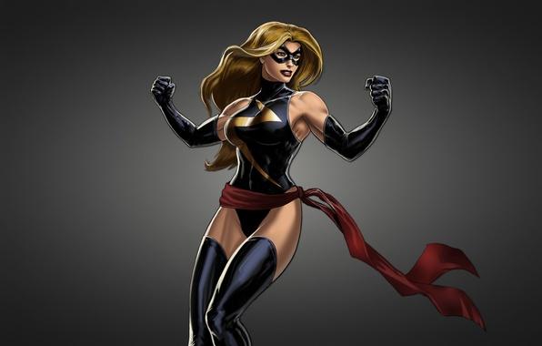 Picture girl, mask, black background, comic, Ms. Marvel, Ms. Marvel