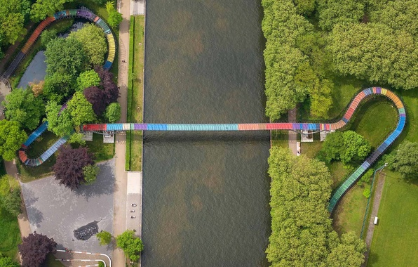Picture bridge, Germany, channel, North Rhine-Westphalia, The Rhine-Herne, Oberhausen