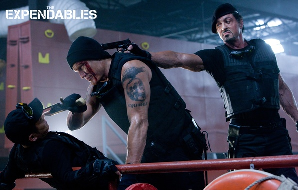 Picture gun, the situation, frame, tattoo, knife, The Expendables, Sylvester Stallone, The expendables, Sylvester Stallone, Barney …